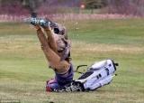 Разъяренный гусь напал игрок в гольф, который не успел унести ноги